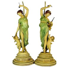 Antique LADY CHERUB Lamp Pair Moreau Style Polychrome Art Nouveau Spelter Lamps