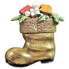Vintage ART CHRISTMAS BOOT Pin Faux Pearl Enamel Gold Tone Figural Signed