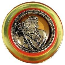 OOAK Poseidon Greek God Pin Vintage Bakelite Button Artisan Upcycled - Red Tag Sale Item