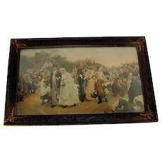 Antique VILLAGE WEDDING Lithograph/Print Sir Samuel Luke Feldes Bride & Groom