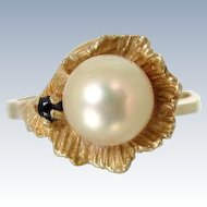 Vintage 14K CULTURED PEARL in LEAF Ring Onyx Gold Size 6 Yellow Gold