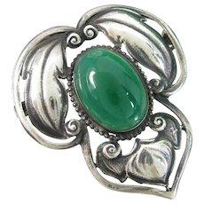 Vintage Art Nouveau Leaf Pin Sterling Chrysoprase Silver Brooch