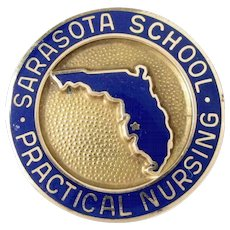 Vintage 10k SARASOTA SCHOOL Of Practical Nursing Gold Pin Antique