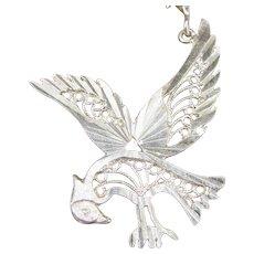 Vintage STERLING FILIGREE EAGLE Pendant Large Silver Patriotic Figural