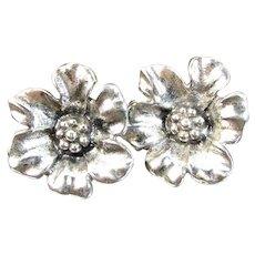 Vintage Sterling Floral Earrings Screw Back Sand Cast Flowers