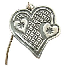 """Vintage MEXICO STERLING HEART Pendant Necklace Mexican 16"""" Italian Silver Chain"""