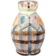 "Vintage ITALIAN MAN Art Pottery Head Vase Mid Century Modern Statue 11 5/8"" Figural Planter"
