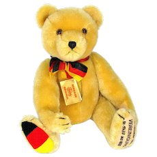 "Vintage HERMANN UNIFICATION BEAR Teddy 1990 German 17"" Jointed Mohair Growler"
