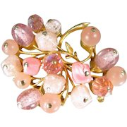 Vintage CORO PINK BEADED Floral Pin Figural Beads Brooch