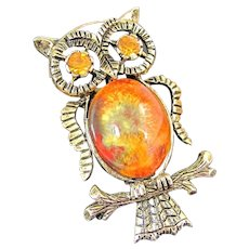 Vintage Owl Art Glass Pin Rhinestone Eyes Figural Brooch Gold Tone