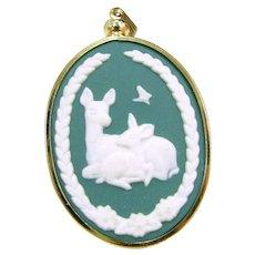 Vintage 1981 Mother's Day Pendant Franklin Porcelain Jasperware Cameo Deer