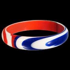 Vintage LAMINATED LUCITE Bracelet Bangle Red White Blue Carved Patriotic