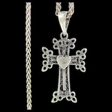 """Vintage STERLING CROSS HEART Pendant Lacy Pierced Necklace 24"""" Rope Chain Silver"""