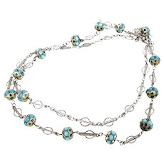 """Vintage STERLING FILIGREE BLUE Bead Necklace Intricate Chased Link 30"""" Long"""