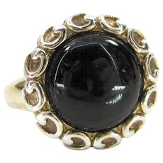 Vintage STERLING ONYX Ring Gold Over Silver Curly Q Design Sz 7.25