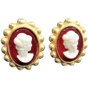 Vintage CATHERINE STEIN CAMEO Earrings Signed Gold Tone Clip Beaded Faux Carnelian