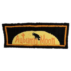 Vintage Autumn Moon American Folk Art Rug Wall Hanging Raven Halloween