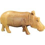 Vintage FOLK ART HIPPOPOTAMUS Carved Wood Figure Miniature Hippo Figurine