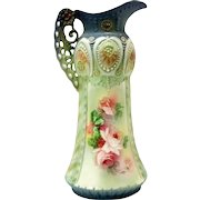 Antique Austrian Art Nouveau Ewer Vase Robert Hanke Roses Porcelain Deco Pitcher