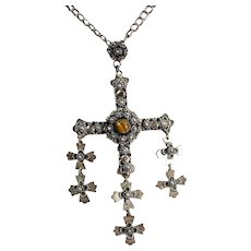 """Vintage JCB MEXICAN YALALAG Cross Tigers Eye Cannetille Sterling Silver 20"""" Necklace"""