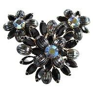 Vintage JUDY LEE Rhinestone Pin & Earrings Blue AB Black Hematite Melon Brooch