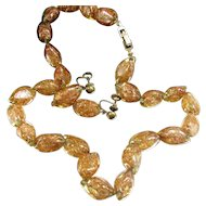 Vintage EB Venetian Copper Gold Aventurine Bead Necklace Earrings Italian Art Glass