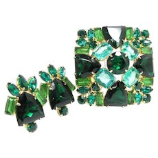 Vintage Emerald Green Turquoise Rhinestone Pin & Earrings Demi Parure