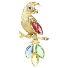 Vintage BSK COCKATOO RHINESTONE Pin Parrot Bird Brooch Designer Signed