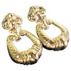 Vintage JOSE BARRERA Earrings Avon Doorknockers Gold Tone Hammered Clip Dangle
