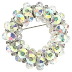 Vintage HOBE Aurora Borealis Bead Pin AB Crystals Designer Signed Wreath Brooch