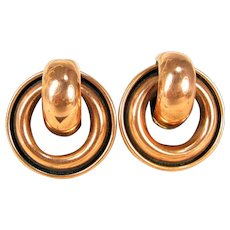 Vintage Matisse Renoir Copper Modern Art Design Round Clip Earrings