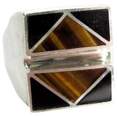 Vintage MEXICAN STERLING Ring Tigers Eye & Onyx Sz 10 Mexico