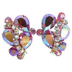 Vintage VENDOME PINK Rhinestone Clip Earrings AB Aurora Borealis