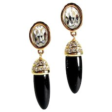 Vintage Deco Style Signed Swarovski Crystal & Black Lucite Dangle Clip Earrings