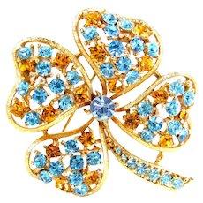 Vintage Lisner Rhinestone Shamrock Pin Blue Amber 4 Leaf Clover Brooch