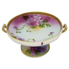 Antique NIPPON VIOLETS Compote Sm Footed Stand Hand Painted Floral Gold Gilt