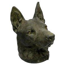 Vintage German Shepherd Dog Bust Cast Metal Figure Head