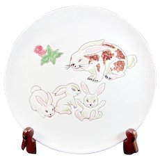 Vintage INVENTO BUNNY Italian Pottery Children's Plate Italy Signed