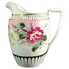 Antique CARL TIELSCH FLORAL Pitcher Hand Painted Hibiscus and Rose CT German Porcelain