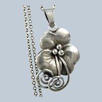 1946 KAPLAN SWEDEN FLORAL Sterling Necklace Vintage Scandinavian Silver Pendant