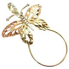 Vtg MA 14K BUTTERFLY Charm Holder Pendant Yellow Rose Gold Pierced Diamond Cut