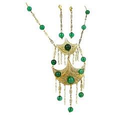 Vintage Czechoslovakia Filigree Necklace Earrings Green Bead Faux Pearl Victorian Revival