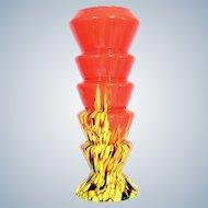 "Vintage Czech Kralik Orange Spatter Glass Vase Tango Stepped Design Bohemian 11"""