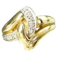 14K Ring Celtic Knot Diamond Ring Yellow Gold Wedding Band Size 6.5 Woman