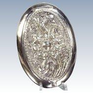 Vintage Yogya Floral Mirror Powder Compact 800 Silver Repousse Flowers
