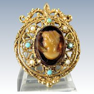 Vintage FLORENZA CAMEO Pin Faux Tortoise Shell Turquoise Pearl Designer Signed