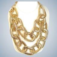 Vintage GRAZIANO STATEMENT Necklace Lg Gold Snake Chain Link Bib Designer Signed