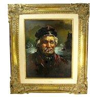 Vintage Laslo Lazslo Kohanecz Ship Captain Painting Nautical Gilded Wood Frame
