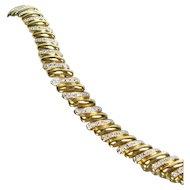 """Sterling Cz Bracelet Silver Gold Vermeil Alternating Link 3/8"""" Wide 7 1/2"""" Long"""