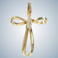10K Ribbon Cross Pendant Cz Stone Yellow Gold